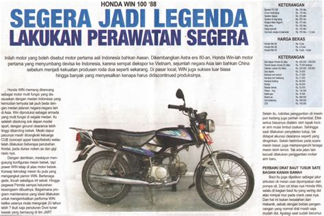Spare Part Honda Win 100 sejarah singkat honda win di indonesia 1984 2005 the