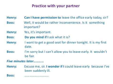 Permission Letter Leave Early Office Permission And Request