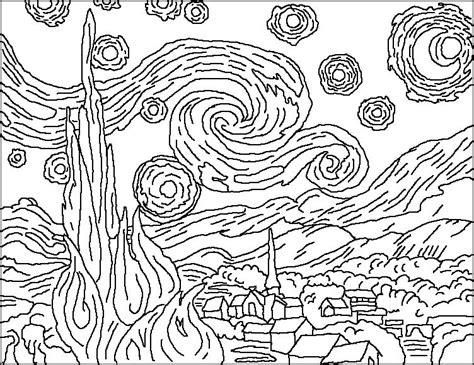 van gogh bedroom coloring page van gogh starry night coloring page art class