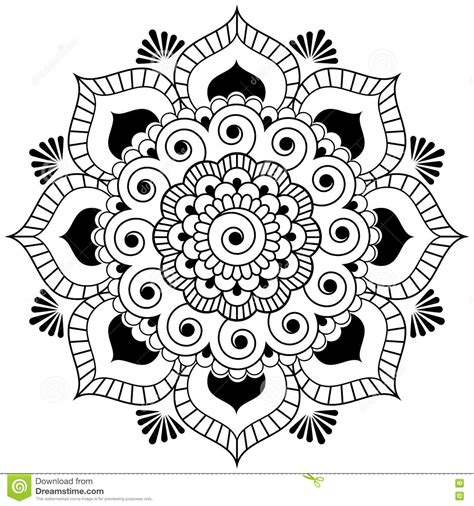 mehndi henna indian element flower mandala for tatoo or