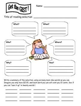 what is a gist template 290 best images about school on comprehension