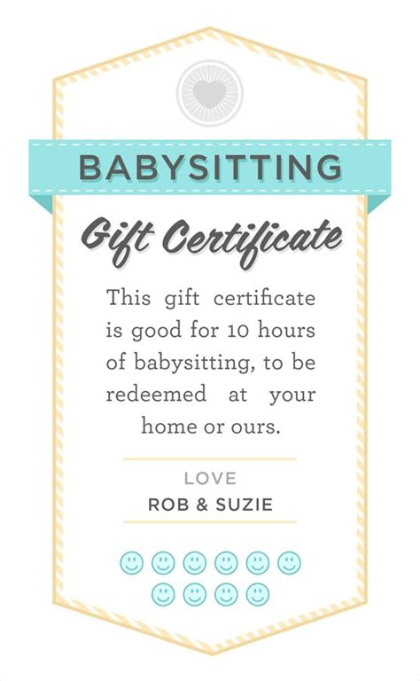 babysitting gift certificate template babysitting gift certificate template free clip