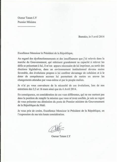 Lettre De Démission Stage maliweb net la lettre de d 233 mission de l ex premier ministre oumar tatam ly