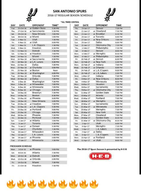 printable spurs schedule printable 2017 2018 san antonio spurs schedule autos post