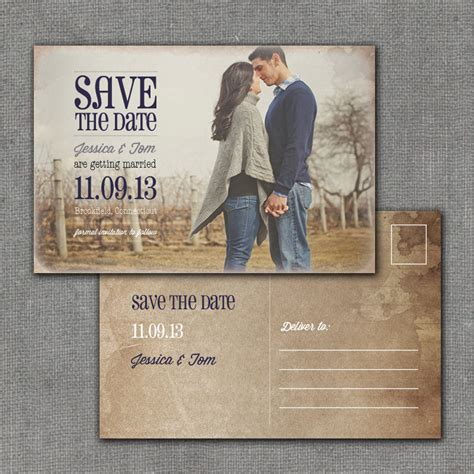 wedding save the date cards postcard style rustic save the date postcard 4x6 printable digital file