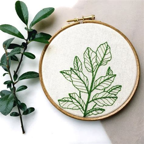 embroidery plants botanical plant embroidery hoop by tuskandtwine on