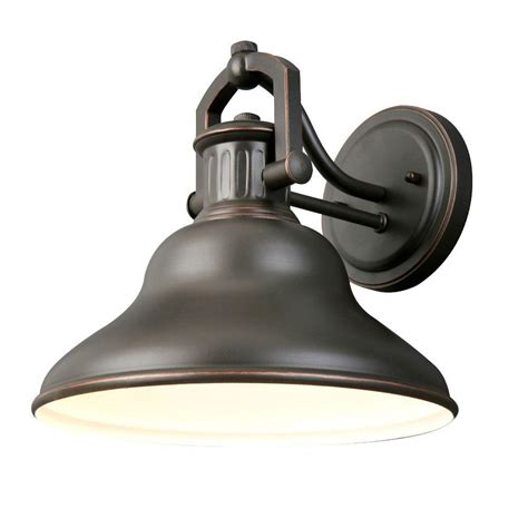 Home Depot Outdoor Light Fixtures Hton Bay 1 Light Rubbed Bronze Outdoor Wall Lantern Hrr1691a The Home Depot
