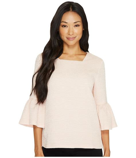lyst calvin klein textured square neck flutter sleeve blouse