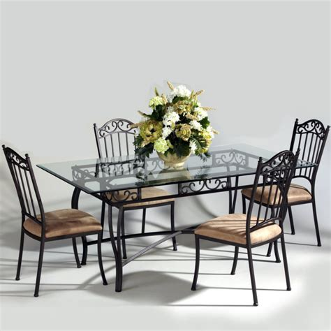wrought iron dining room sets dining room dining table set with rectangular glass