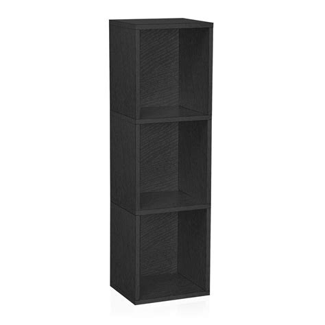 Black Narrow Bookcase Way Basics Trois 3 Shelf Narrow Bookcase Storage Shelf In Black Wood Grain Bs 285 340 1150 Bk