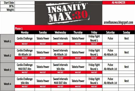 arnel banawa insanity max 30 workout sheets max 30