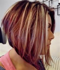 fall highlights for brown hair angled bob with blonde highlights brown and red lowlights