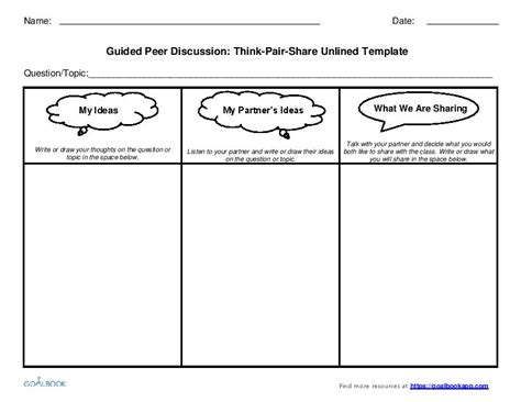 think pair discussion templates grades 3 5
