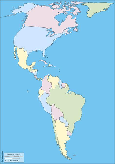 america mapa nombres mapa mudo de america a color