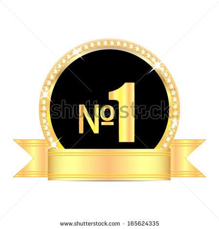 medal with number one and golden ribbon isolated on white