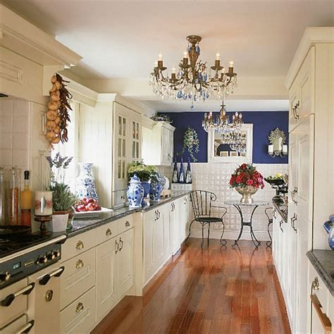 blue and white galley kitchen kitchen decorating