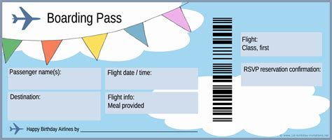 First Birthday Party Invitations Free And Ready To Print Airline Ticket Invitation Template