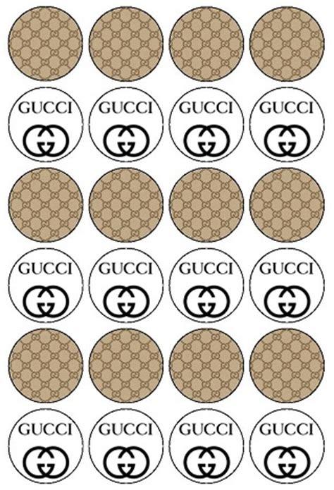 Gucci G068 Combi Gold White edible cake photos logos
