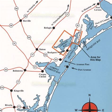 map rockport texas hook n line fishing map f133 copano bay area