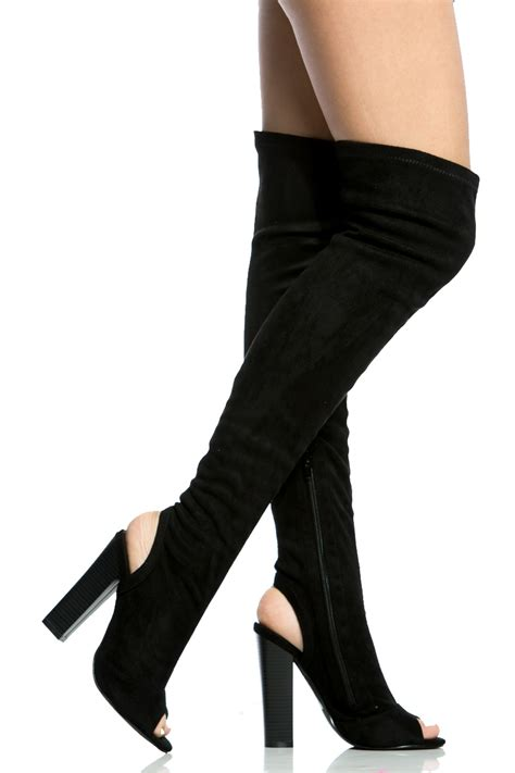 suede knee high platform high heel boots cicihot boots catalogwomen black faux suede chunky cut out thigh high boots cicihot