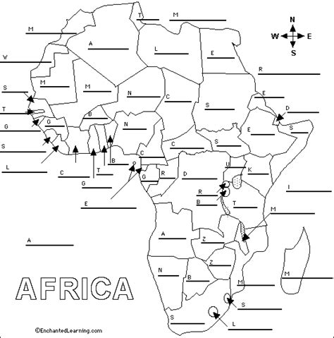 africa map quiz printable label countries printout enchantedlearning