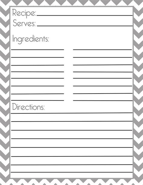 free printable recipe page template chevron gray recipe page and filler page