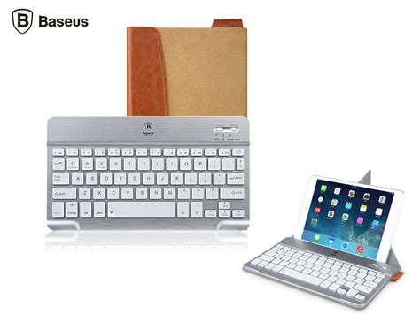 Keyboard Bluetooth Untuk Laptop baseus bluetooth keyboard with tablet leather stand gray silver jakartanotebook