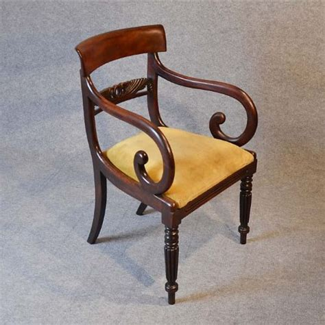 Scroll Arm Chair Design Ideas Antique Regency Scroll Arm Armchair Office Desk Study Chair C1830 188187