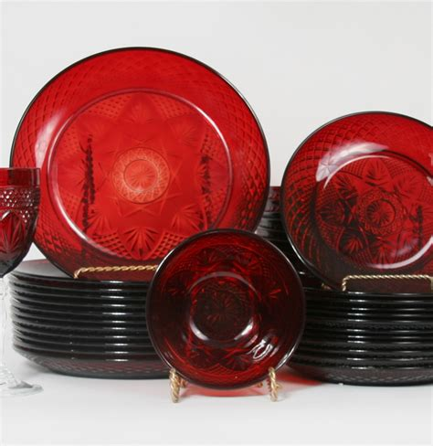 Ebth by Vintage Collection Of Ruby Red Arcoroc France Glass