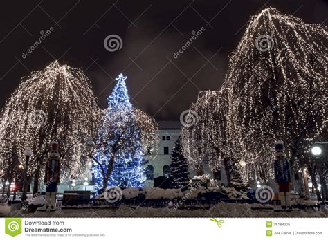 large outdoor christmas tree displays in mn rice park light display stock image image 36184305