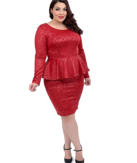 Special Blus Embos Peplum 1 plus size peplum dress with sleeves pluslook eu collection