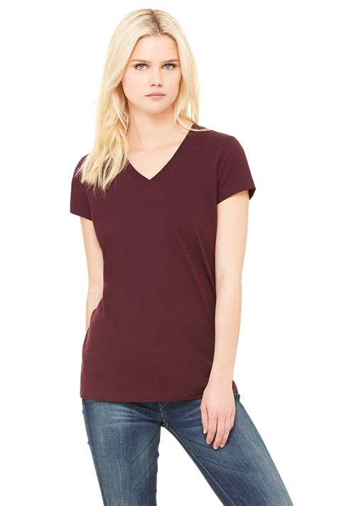 womens styles for large neck women s jersey short sleeve v neck tee bella canvas