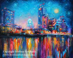 Kids Bathroom Paint Colors - austin city skyline cityscape painting at night 2 contemporary artwork austin by