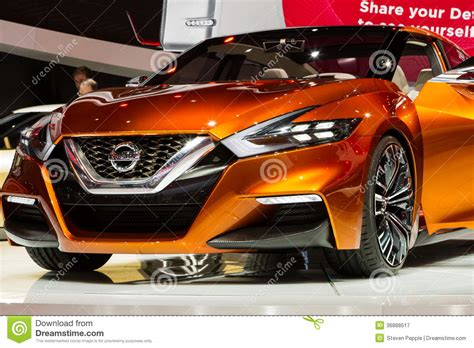 bright orange cars nissan concept sports sedan editorial photography image