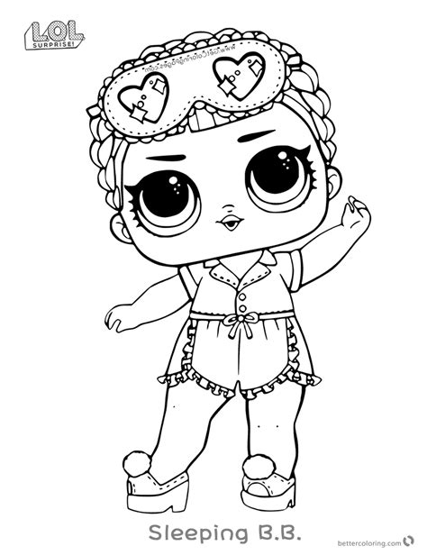 lol doll coloring pages sleeping b b free