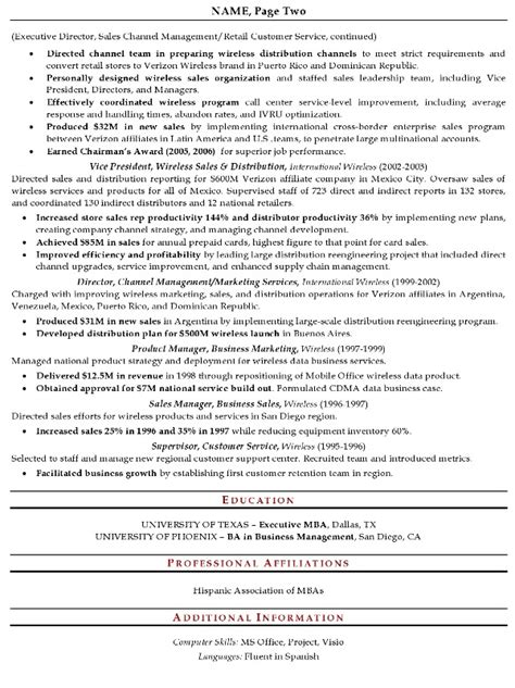 Sles Of Executive Resumes sales executive sle resume