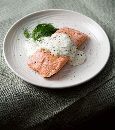 poached salmon recipes salmon with horseradish dill cream