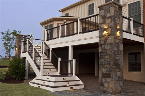 Floor And Decor Clearwater composite deck and staircase with stone pillar