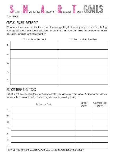 Goal Journal Template by 11 Effective Goal Setting Templates For You Stunning