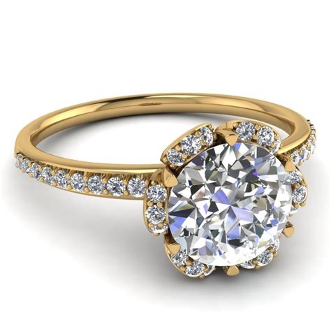 delicate petal engagement ring in 14k yellow gold