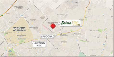 mideast hospital karachi map location map saima elite villas karachi property