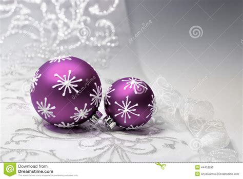 purple christmas decorations with silver ornament stock
