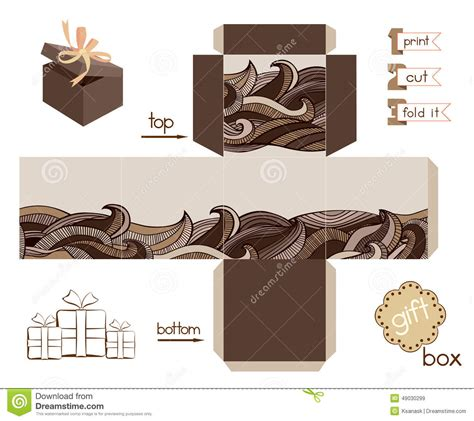 templates for chocolate boxes printable gift box with abstract wavy pattern stock vector