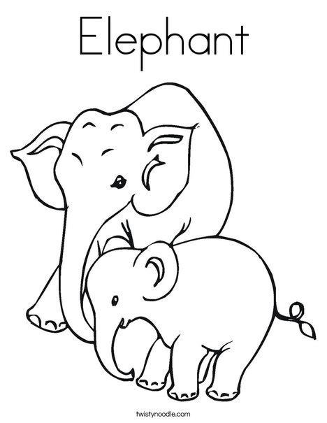 e elephant coloring page elephant coloring page twisty noodle