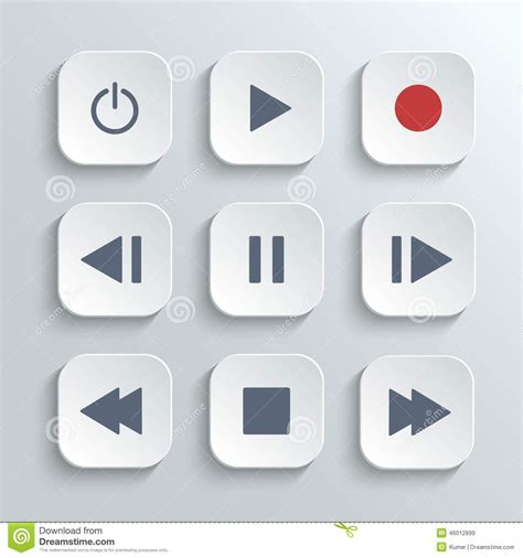 Meidi Set by Media Player Button Ui Icon Set Stock Vector