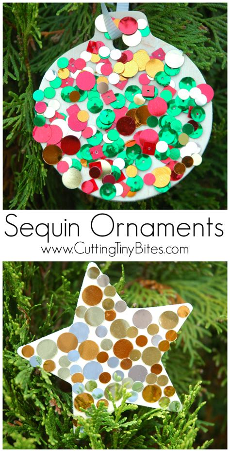 sequin ornaments      paper  glue