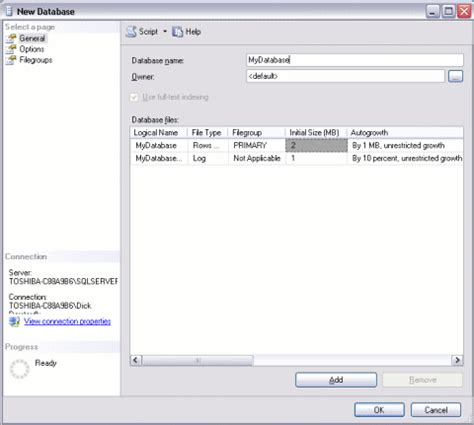 create a building sql server create a database