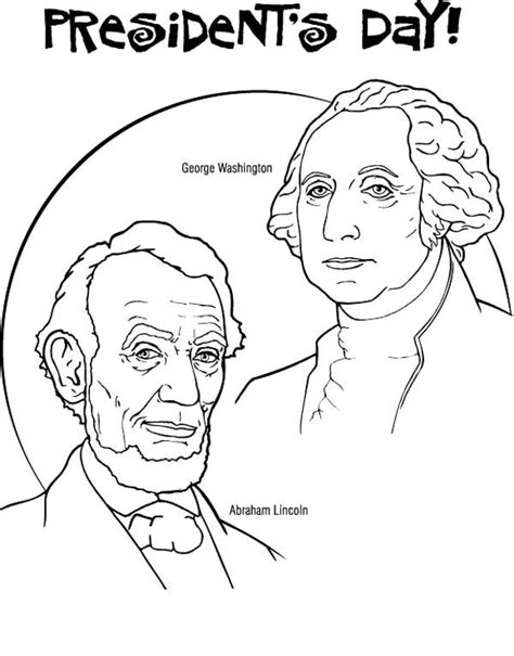 printable coloring pages for presidents day george washington and abraham lincoln for us presidents
