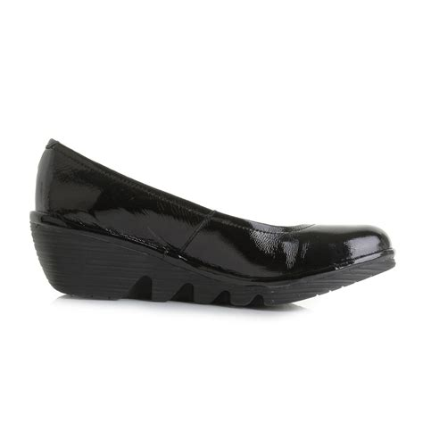are fly london shoes comfortable womens fly london pump luxor black patent leather wedge
