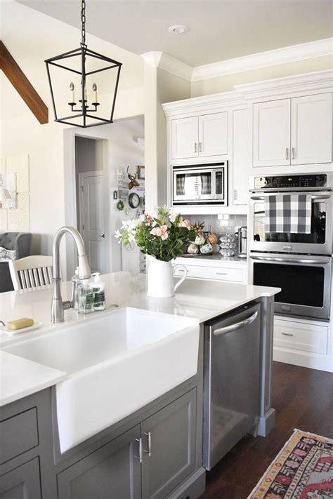farmhouse kitchen sink faucets farmhouse kitchen farmhouse sink and faucet grey island